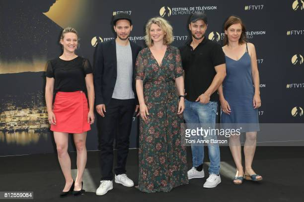 Nathalie Boutefeu Ali Marhyar Cecile Bois Raphael Langlet and Yeelen Jappain attend photocall for 'Candice Renoir' on June 17 2017 at the Grimaldi...