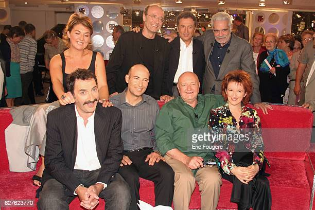 Nathalie Corre François Morel Philippe Geluck Omar Sharif JeanPierre Coffe Anne Roumanoff Nicolas Canteloup and Michel Drucker on the set of TV show...