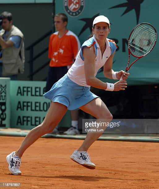 Nathalie Dechy of France is defeated during match against Daniela Hantuchova of Slovokea 63 36 108 in the third round of the 2006 French Open in...