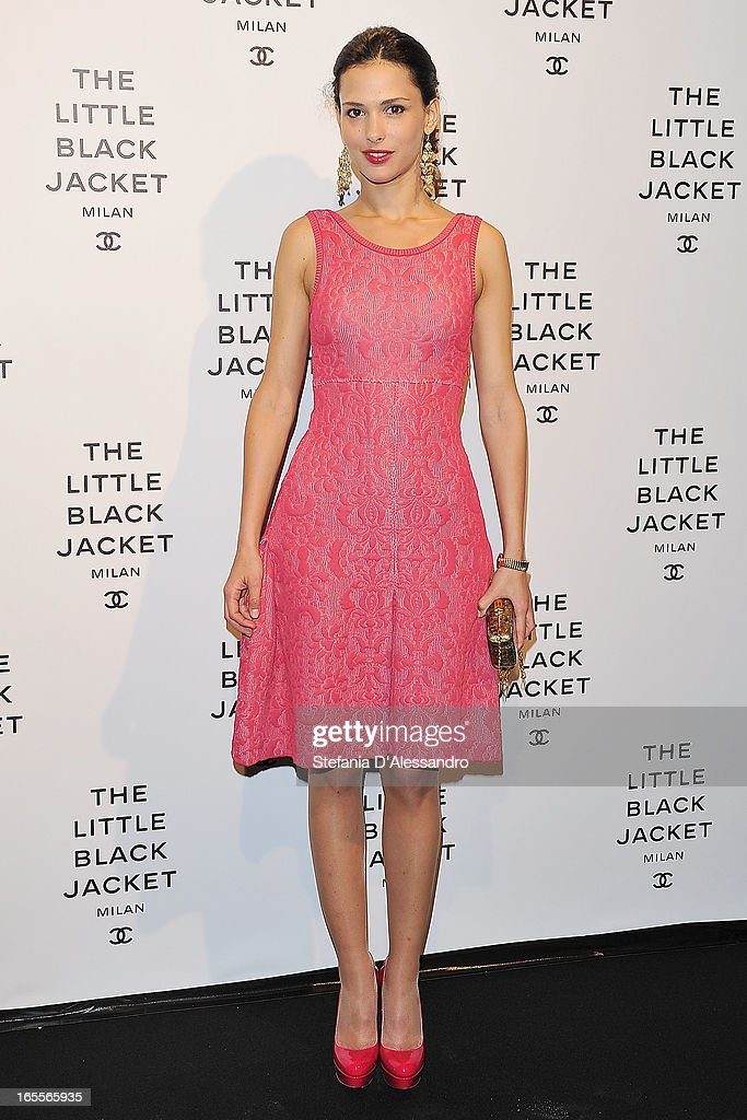 <a gi-track='captionPersonalityLinkClicked' href=/galleries/search?phrase=Nathalie+Dompe&family=editorial&specificpeople=5876375 ng-click='$event.stopPropagation()'>Nathalie Dompe</a> attends Chanel The Little Black Jacket - Karl Lagerfeld Photography Exhibition Dinner Party on April 4, 2013 in Milan, Italy.