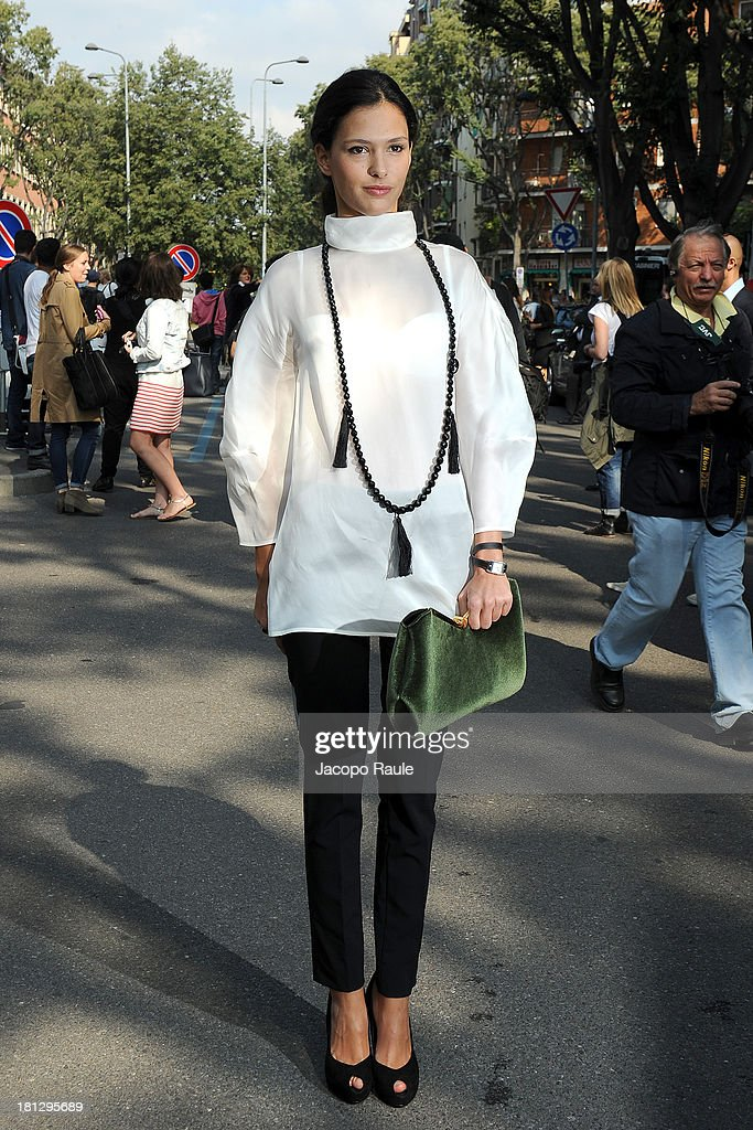 <a gi-track='captionPersonalityLinkClicked' href=/galleries/search?phrase=Nathalie+Dompe&family=editorial&specificpeople=5876375 ng-click='$event.stopPropagation()'>Nathalie Dompe</a> is seen arriving at Emporio Armani during Milan Fashion Week Womenswear Spring/Summer 2014 on September 20, 2013 in Milan, Italy.