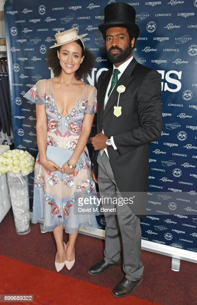 Nathalie Emmanuel and Nicholas Pinnock attend the Longines suite in the Royal Enclosure during Royal Ascot on June 22 2017 in Ascot England