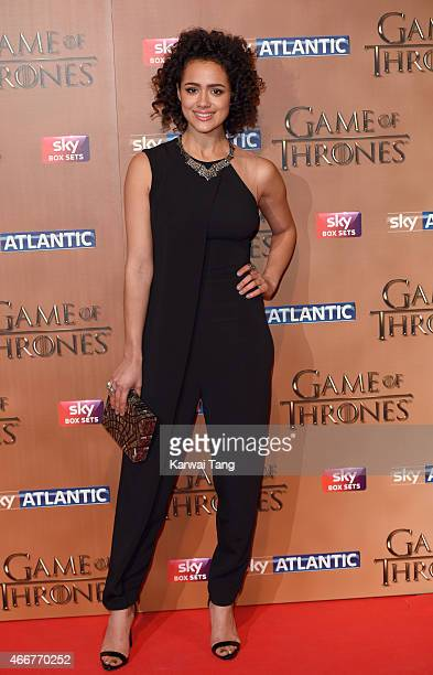 Nathalie Emmanuel arrives for the world premiere of Game of Thrones Season 5 at Tower of London on March 18 2015 in London England
