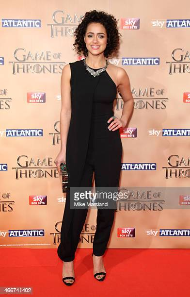 Nathalie Emmanuel attends the World premiere of Game of Thrones Season 5 at the Tower of London on March 18 2015 in London England