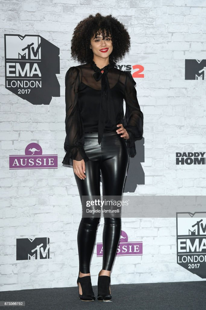 Nathalie Emmanuel poses in the Winners Room during the MTV EMAs 2017 held at The SSE Arena, Wembley on November 12, 2017 in London, England.