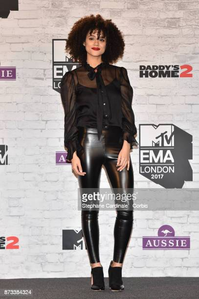 Nathalie Emmanuel poses in the Winners Room during the MTV EMAs 2017 held at The SSE Arena Wembley on November 12 2017 in London England