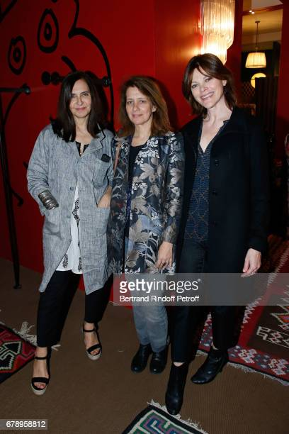 Nathalie Garcon Fervel Lakhdar and Alexandra Kazan attend the Cocktail 'Art is doing well' 'L'art se porte bien' Exhibition of the creations of the...