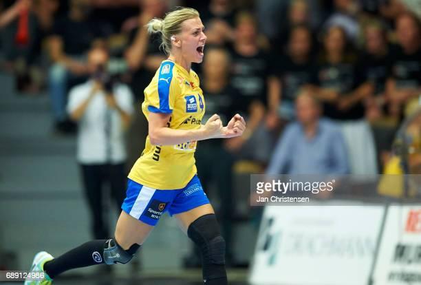 Nathalie Hagman of Nykobing Falster Handbold celebrate after goal during the Primo Tours Ligaen 3 Final match between Nykobing Falster Handbold and...