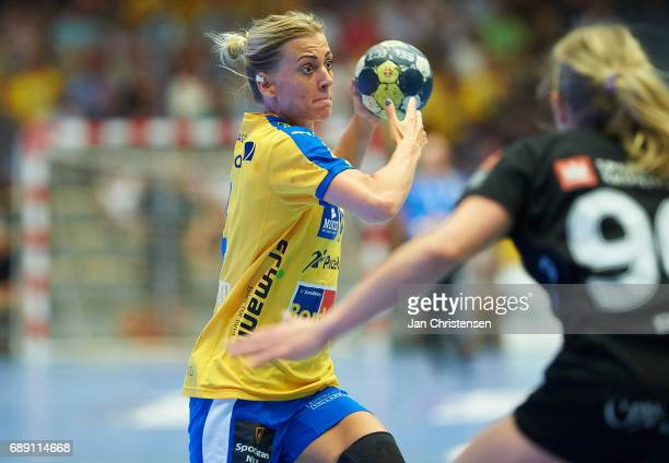 Nathalie Hagman of Nykobing Falster Handbold challenge for the ball during the Primo Tours Ligaen 3 Final match between Nykobing Falster Handbold and...