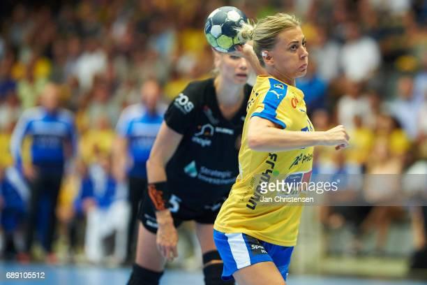 Nathalie Hagman of Nykobing Falster Handbold in action during the Primo Tours Ligaen 3 Final match between Nykobing Falster Handbold and Copenhagen...