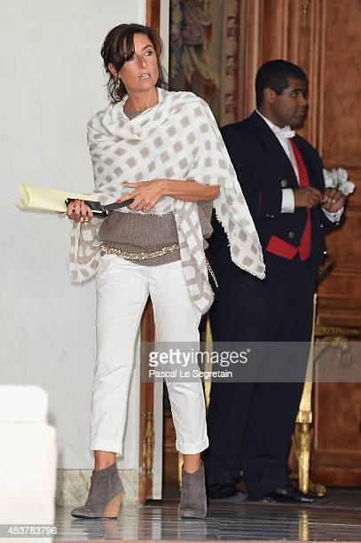 Nathalie Iannetta is seen at Elysee Palace on August 18 2014 in Paris France