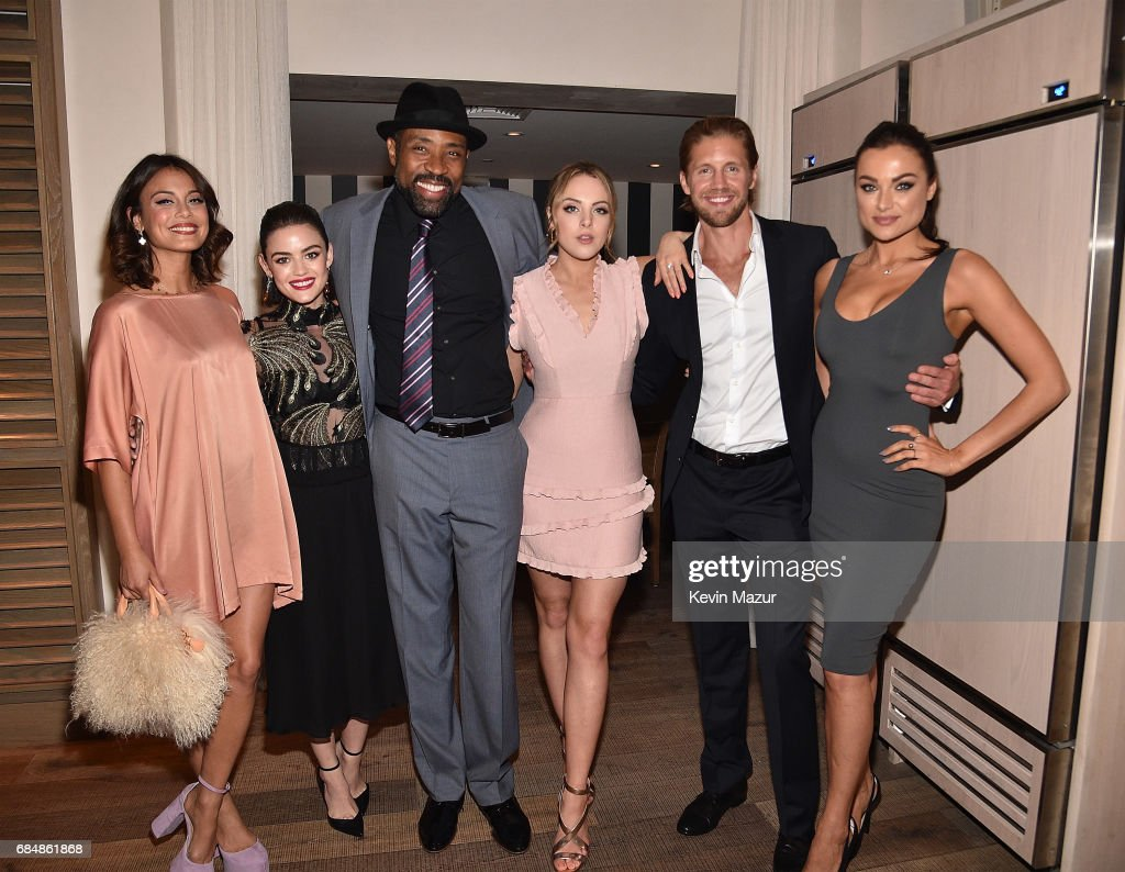 Nathalie Kelley, Lucy Hale, Cress Williams, Elizabeth Gillies, Matt Barr and Christina Ochoa attend The CW Network's 2017 party at Avra Madison Estiatorio on May 18, 2017 in New York City.