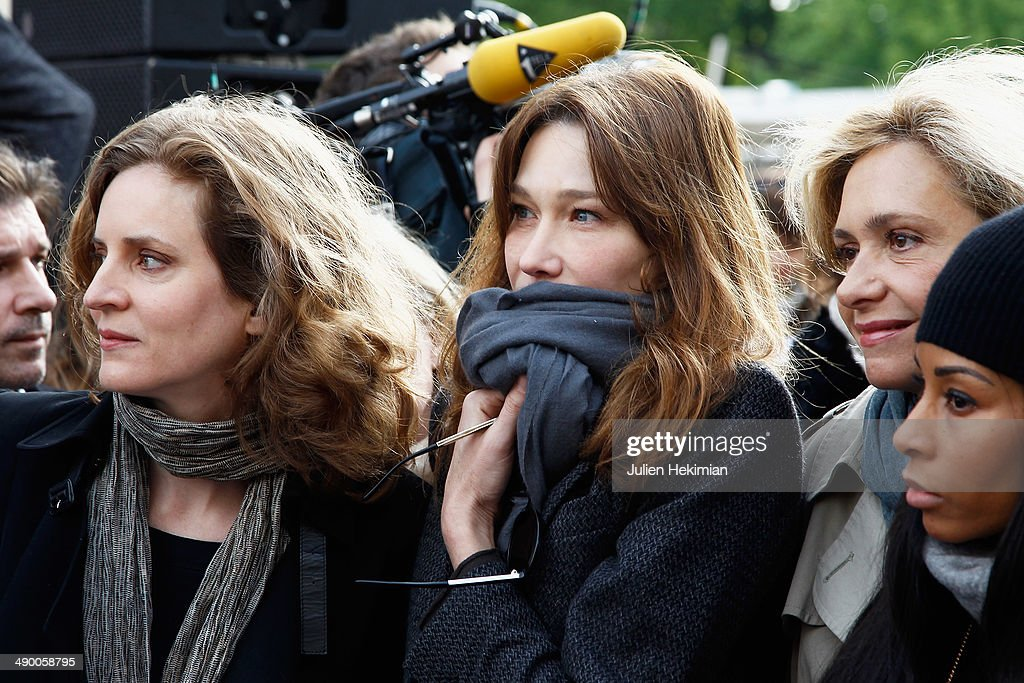 Nathalie Kosciusko Morizet, Carla Bruni Sarkozy, Valerie Pecresse and Mia Frye participate to the demonstration in support for kidnapped Nigerian schoolgirls at the Trocadero on May 13, 2014 in Paris, France.