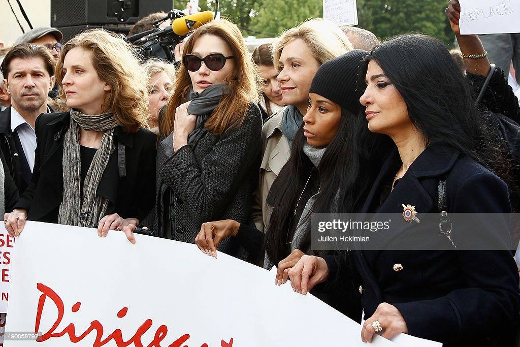 Nathalie Kosciusko Morizet, Carla Bruni Sarkozy, Valerie Pecresse, Mia Frye and guest participate to the demonstration in support for kidnapped Nigerian schoolgirls at the Trocadero on May 13, 2014 in Paris, France.
