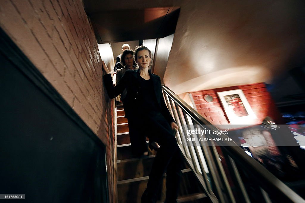 Nathalie Kosciusko-Morizet, a member of the French opposition right-wing UMP party, arrives to meet people, on February 15, 2013 at a cafe in Paris following the announcement of her candidacy for the UMP internal vote to pick the party candidate for the 2014 Paris municipal elections. BAPTISTE