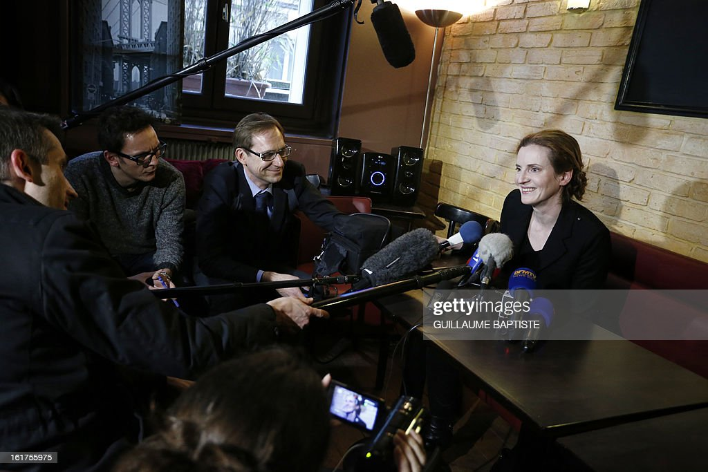 Nathalie Kosciusko-Morizet (R), a member of the French opposition right-wing UMP party, gives a press conference, on February 15, 2013, at a cafe in Paris following the announcement of her candidacy for the UMP internal vote to pick the party candidate for the 2014 Paris municipal elections. BAPTISTE
