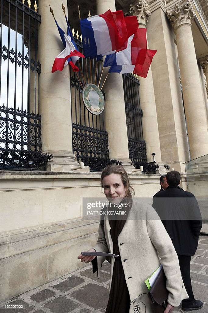 Nathalie Kosciusko-Morizet, a member of the French opposition right-wing UMP party arrives at the National Assembly in Paris, on February 20, 2013. AFP PHOTO PATRICK KOVARIK