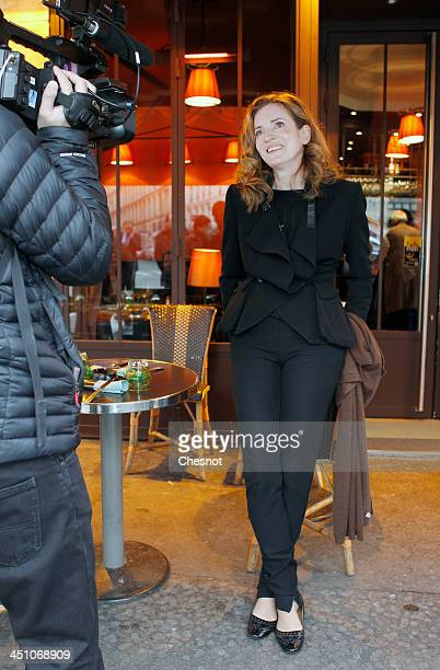 Nathalie KosciuskoMorizet rightwing UMP Party candidate for mayoral elections in Paris gives a interview to the french TV after a press conference on...