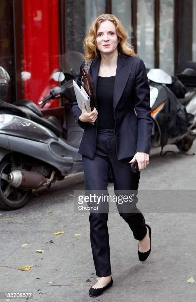 Nathalie KosciuskoMorizet rightwing UMP Party candidate for mayorale elections in Paris arrives to give a press conference on October 24 2013 in...