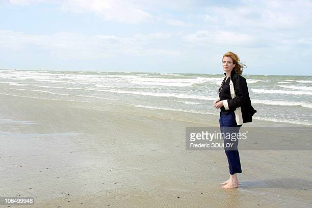 Nathalie KosciuskoMorizet secretary of State in charge of Ecology is on holidays in Normandy in Agon Coutainville France on August 13 2008
