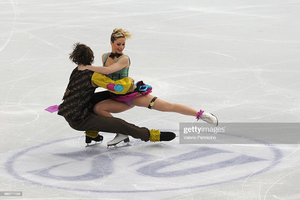 Nathalie Pechalat and Fabian Bourzat of France compete during the Ice Dance Free Dance at the 2010 ISU World Figure Skating Championshipson March 26...
