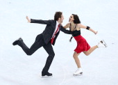 Nathalie Pechalat and Fabian Bourzat of France compete during the Figure Skating Ice Dance Short Dance on day 9 of the Sochi 2014 Winter Olympics at...