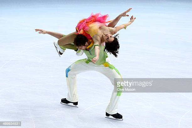 Nathalie Pechalat and Fabian Bourzat of France compete in the Figure Skating Ice Dance Free Dance on Day 10 of the Sochi 2014 Winter Olympics at...