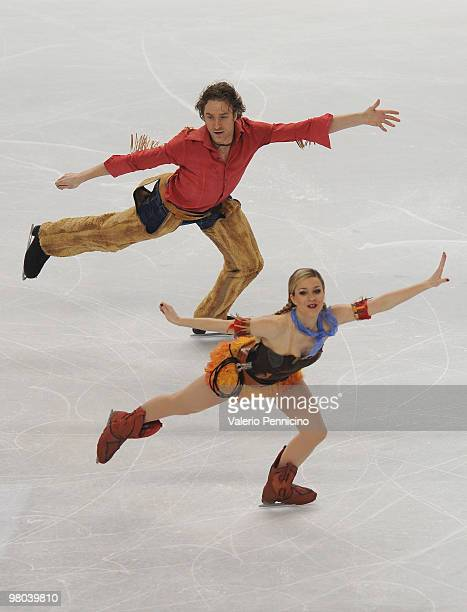 Nathalie Pechalat and Fabian Bourzat of France compete in the Ice Dance Original Dance during the 2010 ISU World Figure Skating Championships on...