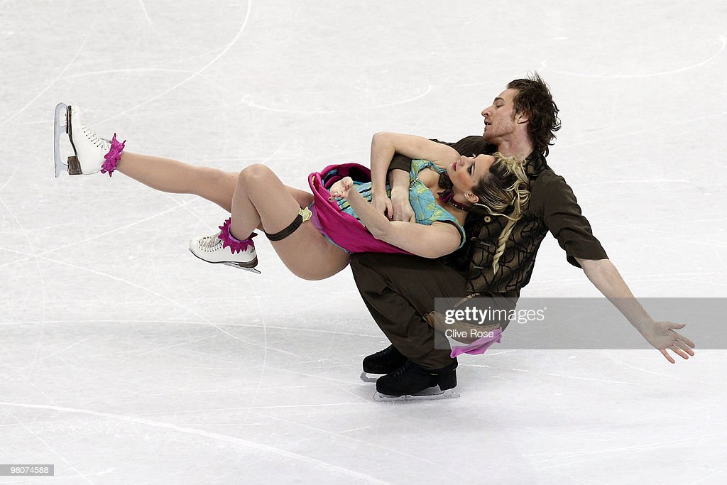 Nathalie Pechalat and Fabian Bourzat of France compete in the Ice Dance Free Dance during the 2010 ISU World Figure Skating Championships on March 26...