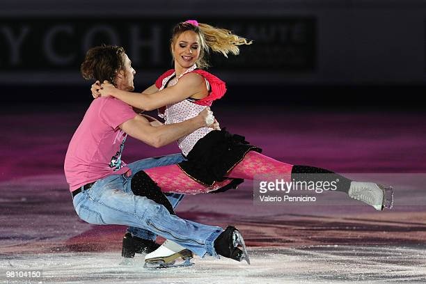 Nathalie Pechalat and Fabian Bourzat of France participate in the Gala Exhibition during the 2010 ISU World Figure Skating Championships on March 28...