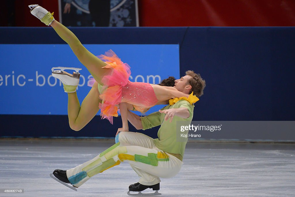 Nathalie Pechalat and Fabian Bourzat of France perform in the Ice Dance Free Dance during day two of Trophee Eric Bompard ISU Grand Prix of Figure...