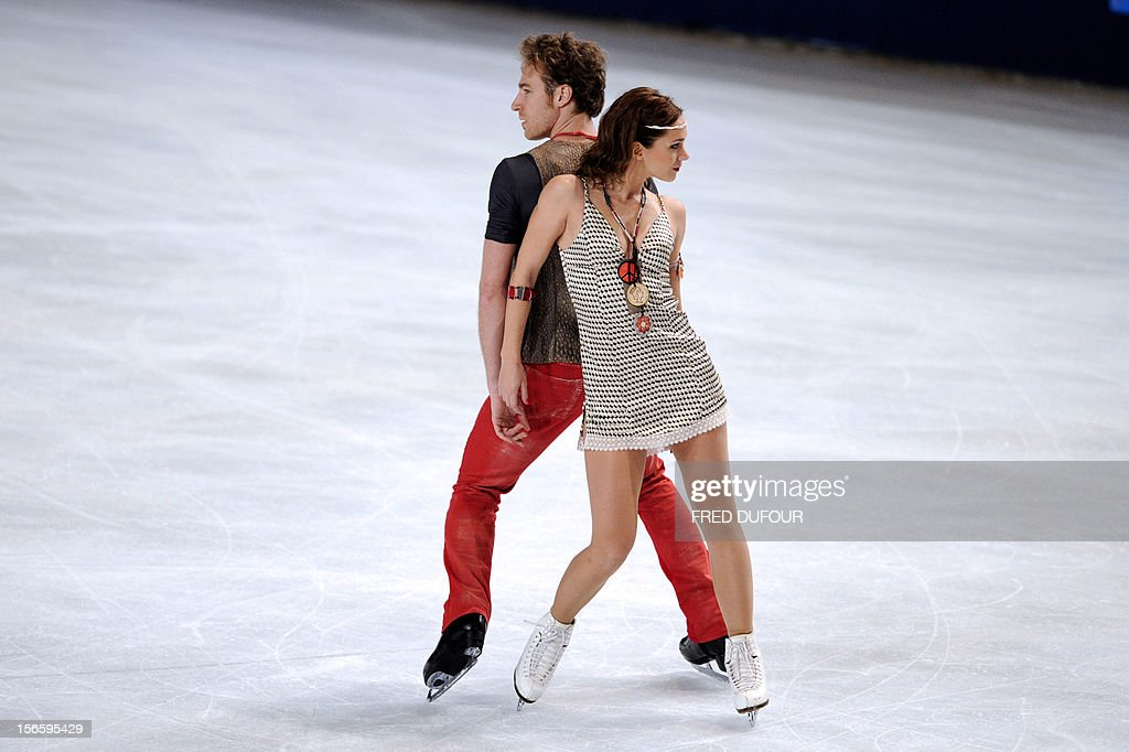 Nathalie Pechalat and Fabian Bourzat of France perform their free program during the Trophee Eric Bompard, the fifth in the six-round ISU Grand Prix figure skating series, on November 17, 2012 at Paris-Bercy. AFP PHOTO / FRED DUFOUR