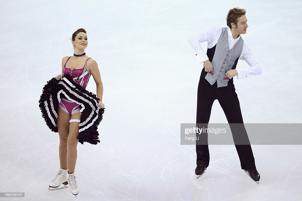 Nathalie Pechalat and Fabian Bourzat of France skate in Ice Dance Short Dance during Cup of China ISU Grand Prix of Figure Skating 2012 at the Oriental Sports Center on November 2, 2012 in Shanghai, China.