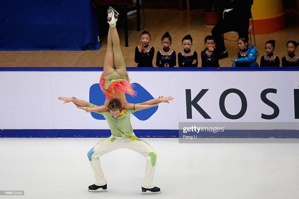 Nathalie Pechalat and Fabian Bourzat of France skate in the Ice Dance Free Dance during Lexus Cup of China ISU Grand Prix of Figure Skating 2013 at...