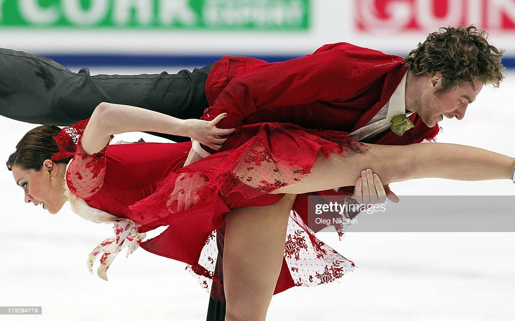 Nathalie Pechalat and Fabian Bourzat of France skate their free dance program in the ice dance category during day seven of the 2011 World Figure...