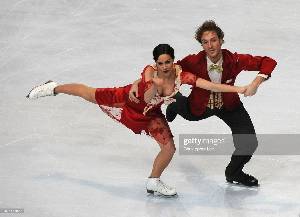 Nathalie Pechalat and Fabien Bourzat of France perform in the Ice Dance Free Dance during the ISU GP Trophee Eric Bompard 2010 at the Palais omnisport de Paris Bercy on November 27, 2010 in Paris, France.