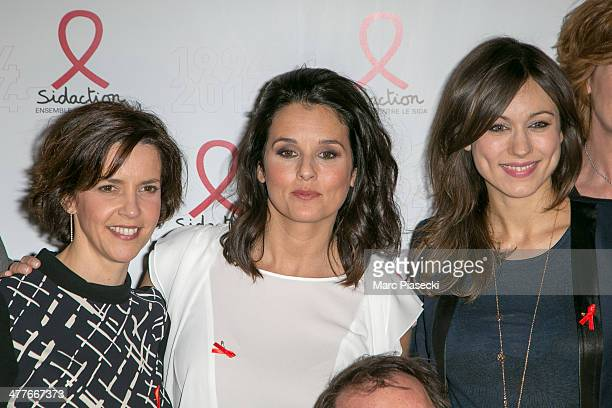 Nathalie Renoux Faustine Bollaert and MarieAnge Casalta attend the 'Sidaction 20th Anniversary' at Musee du Quai Branly on March 10 2014 in Paris...