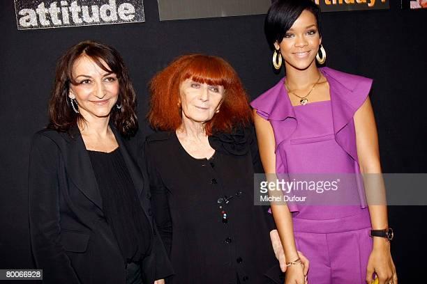 Nathalie Rykiel and Sonia Rykiel pose with Rihanna backstage at the Sonia Rykiel Fashion show during Paris Fashion Week FallWinter 20082009 at...