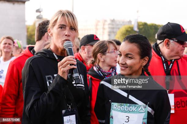 Nathalie Simon and Sarah Ourahmoune during La Parisienne women's race on September 10 2017 in Paris France