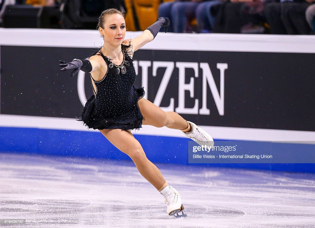 <a gi-track='captionPersonalityLinkClicked' href=/galleries/search?phrase=Nathalie+Weinzierl&family=editorial&specificpeople=8823412 ng-click='$event.stopPropagation()'>Nathalie Weinzierl</a> of Germany competes during Day 4 of the ISU World Figure Skating Championships 2016 at TD Garden on March 31, 2016 in Boston, Massachusetts.