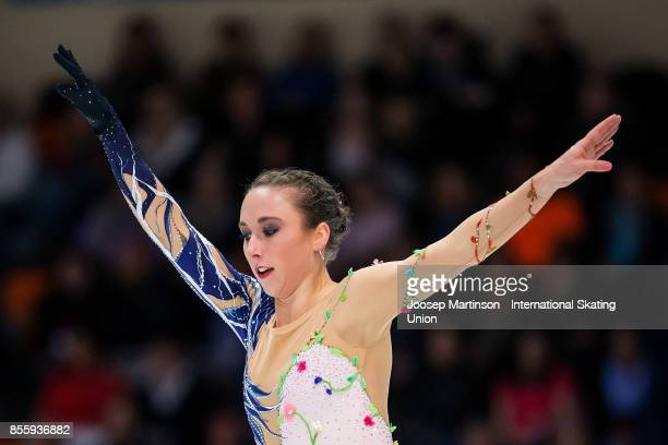 Nathalie Weinzierl of Germany competes in the Ladies Free Skating during the Nebelhorn Trophy 2017 at Eissportzentrum on September 30 2017 in...