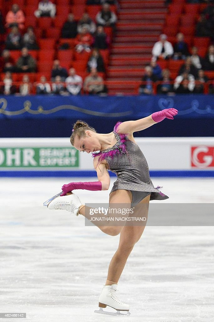 <a gi-track='captionPersonalityLinkClicked' href=/galleries/search?phrase=Nathalie+Weinzierl&family=editorial&specificpeople=8823412 ng-click='$event.stopPropagation()'>Nathalie Weinzierl</a> of Germany performs on ice during the ladies short program of the ISU European Figure Skating Championships on January 29, 2015 in Stockholm, Sweden.