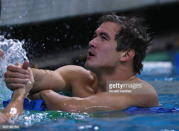 Nathan Adrian after swimming in the Men's 100 meter freestyle during the Arena Pro Swim Series at Austin on January 15 2016 in Austin Texas
