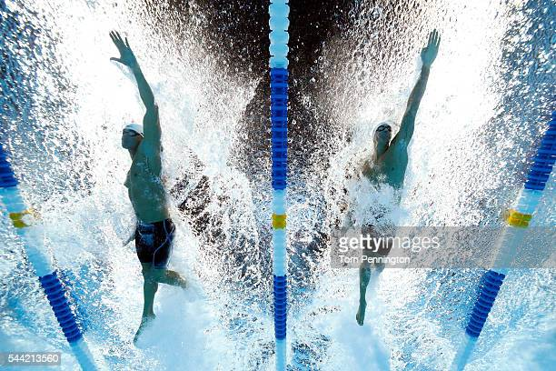 Nathan Adrian and Anthony Ervin of the United States compete in a semifinal heat for the Men's 50 Meter Freestyle during Day Six of the 2016 US...