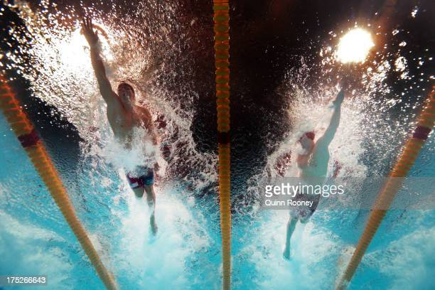 Nathan Adrian and James Feigen of the USA compete during the Swimming Men's Freestyle 100m Final on day thirteen of the 15th FINA World Championships...