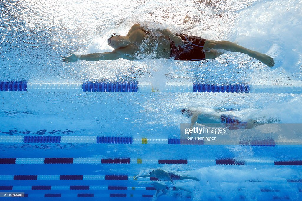 Nathan Adrian Josh Schneider Matt Grevers of the United States compete in a heat for the Men's 50 Meter Freestyle during Day Six of the 2016 US...