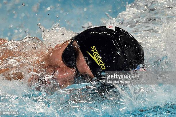 Nathan Adrian of the United States competes in the Men's 4x100m Medley Relay on day sixteen of the 16th FINA World Championships at the Kazan Arena...