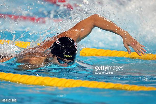Nathan Adrian of the United States competes in the Mixed 4x100m Freestyle Relay Final on day fifteen of the 16th FINA World Championships at the...