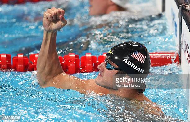 Nathan Adrian of the United States reacts after competing in the Men's 50m Freestyle semifinal on day fourteen of the 16th FINA World Championships...