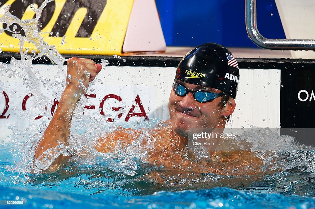 Nathan Adrian of the United States reacts after competing in the Men's 50m Freestyle semifinal on day fourteen of the 16th FINA World Championships at the Kazan Arena on August 7, 2015 in Kazan, Russia.